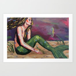 The Mermaid and the Seahorse Art Print