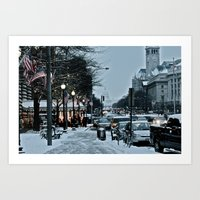 washington dc Art Prints featuring Washington DC by Kira Kikla