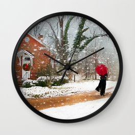 The Winter Cottage Wall Clock