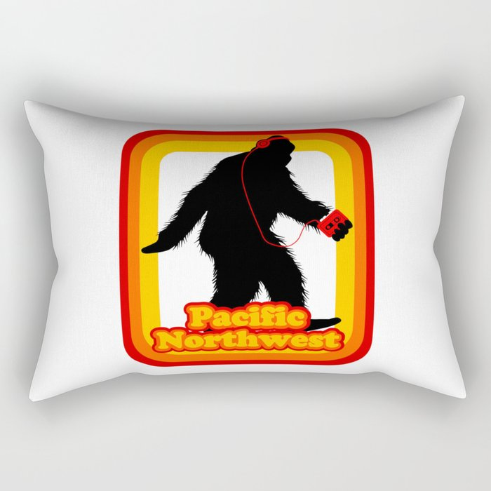 Retro Sasquatch Pacific Northwest Rectangular Pillow