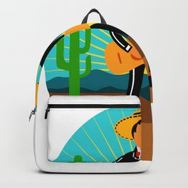Mexican Mariachi in Desert Circle Retro Backpack