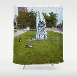 Geese and Wing Sculpture: Life Imitates Art (Chicago North Pond Collection) Shower Curtain