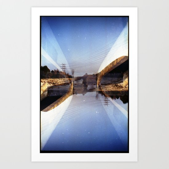 LA River (35mm multi exposure) Art Print