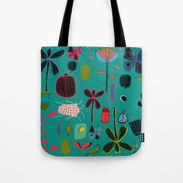 bugs and insects green Tote Bag