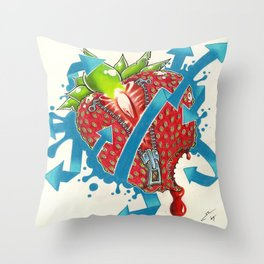 straw_berried Throw Pillow