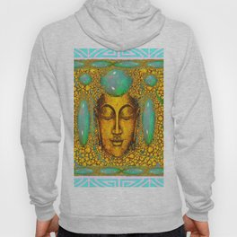 TURQUOISE ART DECO & FIRE OPALS GOLD BUDDHA ABSTRACT Hoody