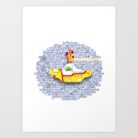 yellow submarine Art Prints featuring Yellow Submarine by Anaïs Rivola