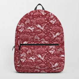 Hares Field, Jumping Rabbits Winter Holidays Pattern, Red White Backpack