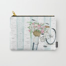 White Vintage bicycle in a Birch Forest Carry-All Pouch