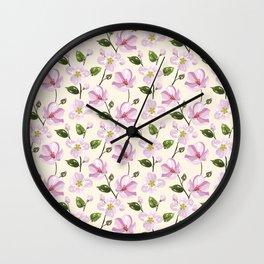 Blush pink lavender ivory elegant floral pattern Wall Clock
