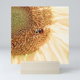 A Sunflower and A Bee Mini Art Print