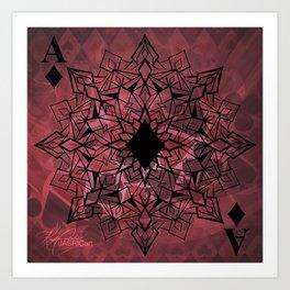 Ace of Diamonds Mandala Art Print