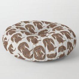 Cute Dog - Longhaired Chocolate Dachshund Cartoon Wiener Dog Floor Pillow