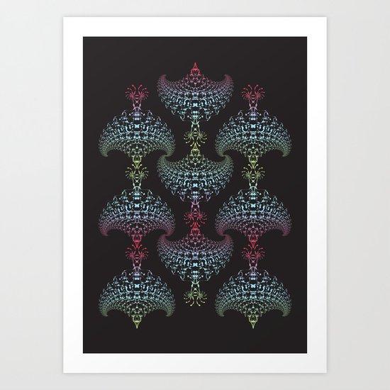 Tribal Eagle Rainbow Pattern on black Art Print