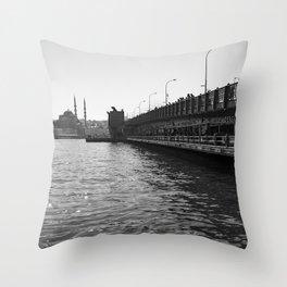 City of bridges, urban, photography, black and white Throw Pillow