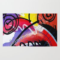 kandinsky Area & Throw Rugs featuring I Feel Fine - Whirly Swirls Splashy Aqua Turquoise Blue Red Yellow  Fine Art Abstract Painting by Mark Compton