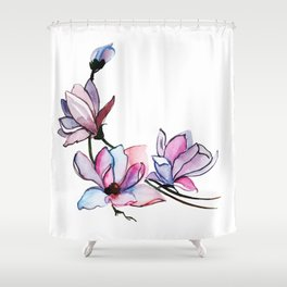 Watercolor Spring Floral and Leaves Collection Shower Curtain