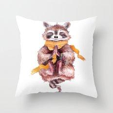 Raccoon meditates Throw Pillow