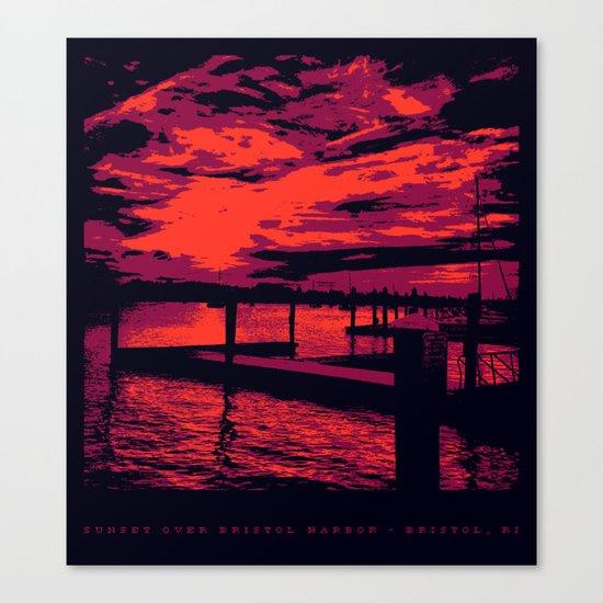 Sunset Over Bristol Harbor Canvas Print