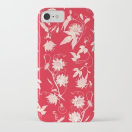 Festive Christmas Bright Red Passion Flowers iPhone Case