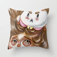 puppycat Throw Pillows featuring A Bee and her PuppyCat by Kristin Frenzel