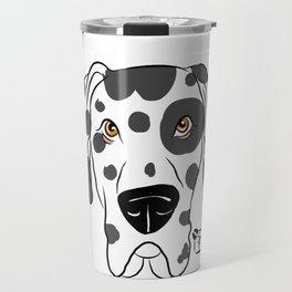 Harlequin Great Dane Face Travel Mug