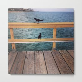 Two Birds on A Pier Metal Print