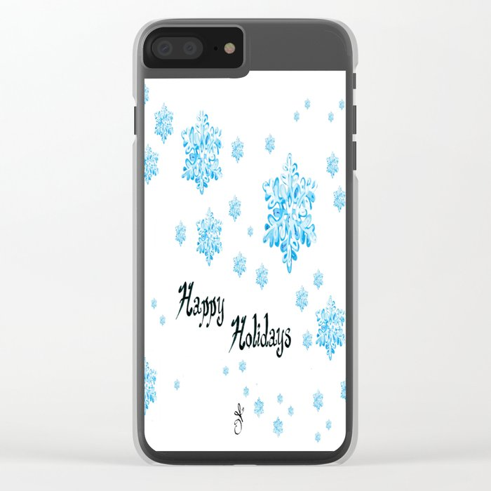 Snow Falling at Christmas Holiday in Blue Ice Clear iPhone Case
