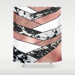 Modern Rose Gold Black Glitter Marble Geometric Shower Curtain