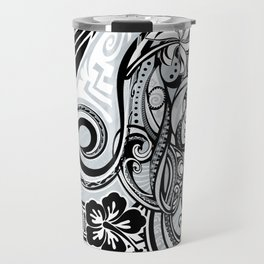 Polynesian FLORAL Tribal Threads Travel Mug
