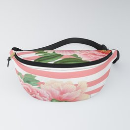 Pink Peonies Salmon Stripes Fanny Pack