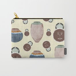 Rustic pottery and african art mask pattern    Carry-All Pouch