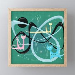Atomic Rocket Cats In Space Framed Mini Art Print
