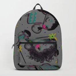 Whimsical fairy fairytale flying fairies dark grey neon pink children vivid bright nursery naive art playroom Backpack