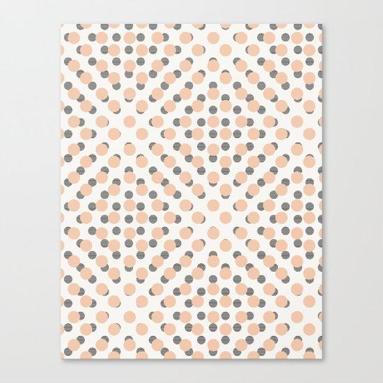 Black & Pink Polka Dots Canvas Print