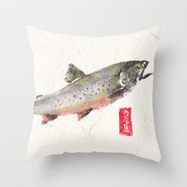 Brook Trout in Spawning colors-Gyotaku Throw Pillow