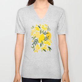 Lemon Blooms – Blush Palette Unisex V-Neck
