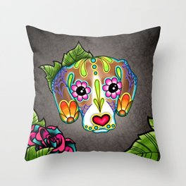 Beagle - Day of the Dead Sugar Skull Dog Throw Pillow