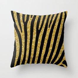 Gold glitter black zebra pattern Throw Pillow