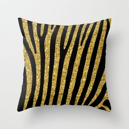 Gold glitter black zebra pattern Throw Pillow