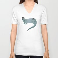 otter V-neck T-shirts featuring Otter by Natural Wonders