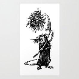 Rat with flower #1 Art Print
