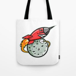 Rocket Launching Off Moon Mascot Tote Bag