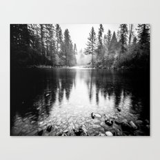 Forest Reflection Lake - Black and White Nature Water Reflection Canvas Print