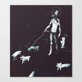 Two-head walking his dogs Canvas Print