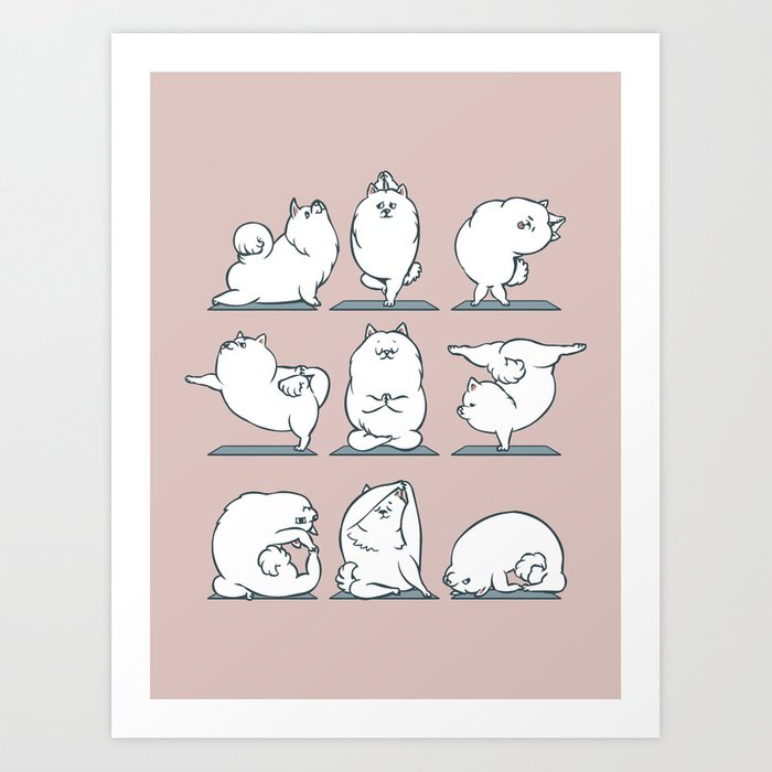 Samoyed Yoga Art Print