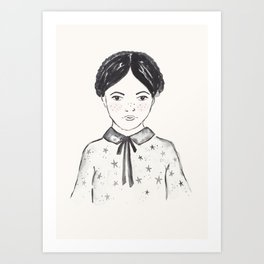 A little girl and the stars Art Print
