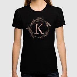 Letter K Rose Gold Pink Initial Monogram T-shirt