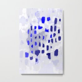 Symba - abstract painting dorm college decor art dots indigo blue grey modern canvas art Metal Print