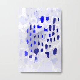 Symba - abstract painting dorm college decor art dots indigo blue grey modern canvas art Metal Print